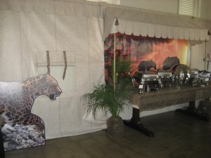 Buffet decor from Indian Springs African themed party