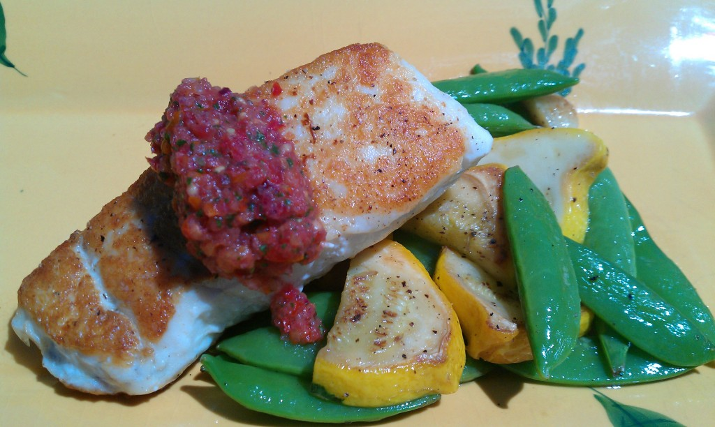 Halibut with Savory Tomato Salsa