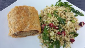 Classic sausage roll and barley salad in Dublin